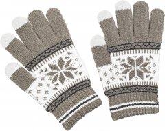 Перчатки XoKo для сенсорных экранов Ornament White/Brown (XK-TouchGloves-WBR)