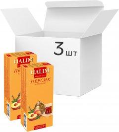Упаковка черного чая Halim с ароматом персика 3 пачки по 25 пакетов (4820229040795)