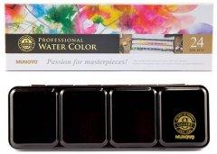 Набор акварельных красок MUNGYO Gallery 24 цвета в полу кюветах металлический пенал (8804819109242)