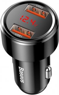 Автомобильное зарядное устройство Baseus Magic Series Dual Dsplay QC 2x3.0 Black (CCMLC20A-01)
