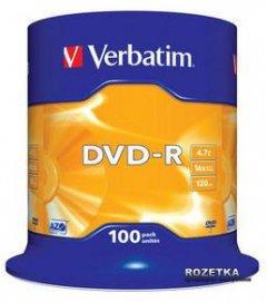 Verbatim DVD-R 4.7 GB 16x Cake Box 100 шт (43549)