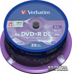 Verbatim DVD+R 8,5 GB DL 8x Cake 25 шт (43757)