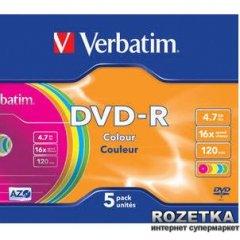 Verbatim DVD-R 4,7 GB 16x Slim 5 шт Color (43557)