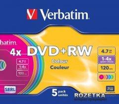 Verbatim DVD+RW 4,7 GB 4x Slim 5 шт Color (43297)