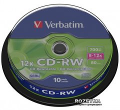Verbatim CD-RW 700 MB 12x Cake 10 шт (43480)