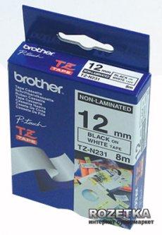 Лента Brother 12mm white Print black (TZEN231)