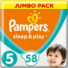 Подгузники Pampers Sleep & Play Размер 5 (Junior) 11-16 кг, 58 шт (4015400203582)
