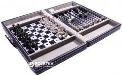 Дорожный набор в кожаном кейсе Duke Шахматы, шашки, нарды (SG1150)