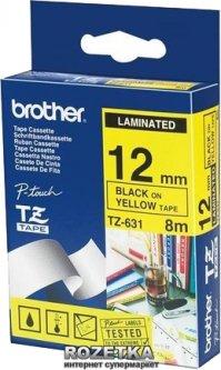Лента Brother 12mm Laminated yellow Print black (TZE631)