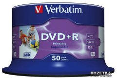 Verbatim DVD+R 4.7 GB 16x Spindle 50 шт Printable (43512)