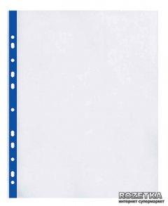 Набор файлов-карманов 100 шт Optima с синей лентой А4 (A4+) 40 мкм глянцевый Прозрачный (O35108-02)
