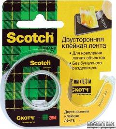 Клейкая лента Scotch двусторонняя на мини-диспенсере 12 мм х 6.3 м Прозрачная 1 шт (136D)
