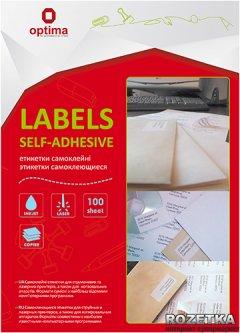 Набор этикеток самоклеящихся Optima 100 листов А4 105х41 мм Белые (25108)