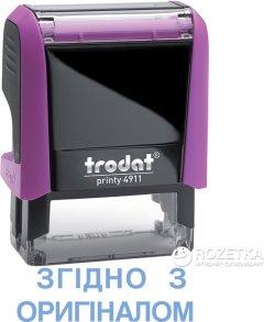 """Штамп стандартный Trodat Printy 4911 """"Згiдно з оригiналом"""" 38х14 мм 2 строки Розовый корпус (092399431169) (4911 P4 рожев)"""