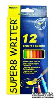 Карандаши цветные Marco Superb Writer акварельные с кисточкой 12 цветов (4120-12CB)