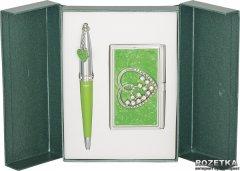 Набор подарочный (ручка шариковая + визитница) Langres Crystal Heart Зеленый (LS.122008-04)
