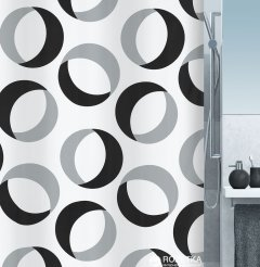 Шторка для ванной Spirella Rings 180x200 Polyester Серо-черная (10.15184)