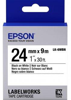 Картридж с лентой Epson LabelWorks LK6WBN Standard 24 мм 9 м Black/White (C53S656006)