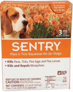 Капли Sentry от блох, клещей и комаров для собак весом 7-15 кг 3 пипетки (4.5 мл) (73091023630)