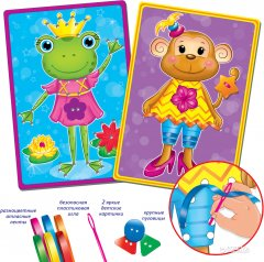 Набор для творчества Vladi Toys Вышивка лентами и пуговицами Обезьянка и лягушка (VT4701-02)