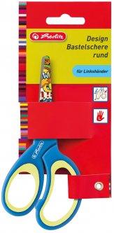 Ножницы детские Herlitz 13 см с резиновыми вставками для левши Синие с принтом (10897163G)