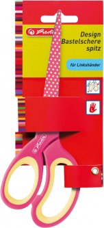 Ножницы детские Herlitz 17 см с резиновыми вставками для левши Розовые (10897171P)