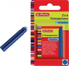 Набор чернильных картриджей для перьевых ручек Herlitz 12 шт короткие Синие стираемые (8622102)