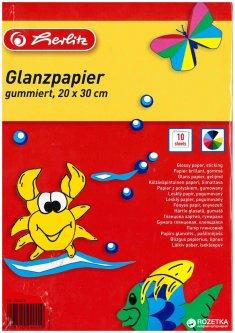 Цветная бумага Herlitz глянцевая самоклеющаяся Herlitz А4 10 листов (244418)