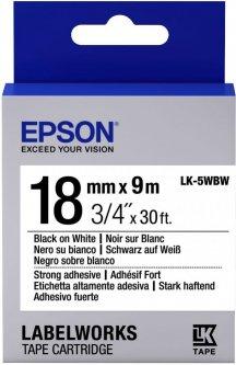 Картридж с лентой Epson LabelWorks LK5WBW Strong Adhesive 18 мм 9 м Black/White (C53S655012)