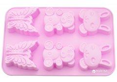 Форма для выпечки 6 кексов Fissman Заяц, Медведь, Бабочка 26 х 18.3 х 2.8 см Чайная роза (BW-6646.6)