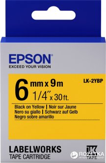 Картридж с лентой Epson LabelWorks LK2YBP 6 мм / 9 м Black/Yellow (C53S652002)