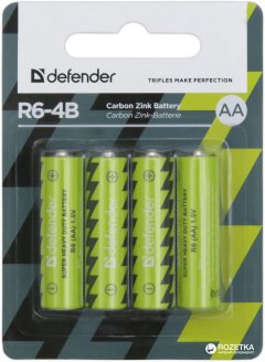 Батарейки Defender Carbon Zink R6-4B AA 4 шт (56112)