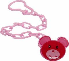 Цепочка для пустышки пластиковая Lindo РК 221 Мышонок на клипсе Розовая (4890210602219)