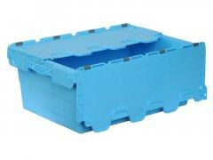 Ящик пластиковый сплошной Полимерцентр с крышкой 600*400*245 мм голубой (N6423-ALC)