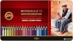 Карандаши цветные акварельные Koh-i-Noor Mondeluz 72 цвета в металлической упаковке (372707)