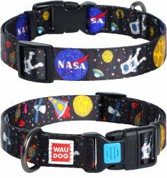 """Ошейник для собак нейлоновый Collar WAUDOG Nylon c QR паспортом, рисунок """"NASA"""", пластиковый фастекс, M, Ш 20 мм, Дл 24-40 см (4749)"""