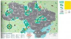 Скретч-карта мира 1DEA.me Travel Map Моя Рідна Україна в раме (UARF)
