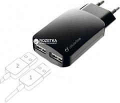 Сетевое зарядное устройство Cellular Line 2 USB 3000 мА Black (ACHUSBMOBILEDUAL3A)