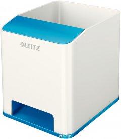 Пластиковая подставка-стаканчик для ручек Leitz WOW квадратная Белый с синим (53631036)