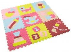 Детский развивающий коврик-пазл Baby Great Интересные игрушки 92х92 см Розово-зеленый (GB-M1707)
