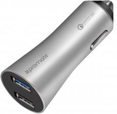 Автомобильное зарядное устройство Promate Robust-QC3 30 Вт USB QC 3.0 + USB 2.4 A Silver (robust-qc3.silver)