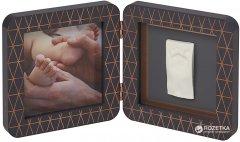 Набор для создания отпечатка ручки и ножки малыша Baby Art Двойная рамка Медно-тёмно-серая (3601092900)