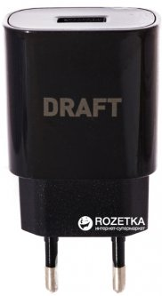 Зарядное устройство DRAFT 4210D-USB 5V 2A+ кабель microUSB Black (152826)
