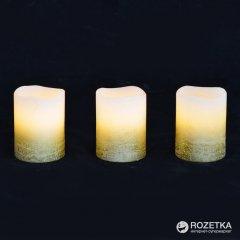 Набор восковых LED свечей Новогодько (YES! Fun) 3 шт. Золотистый (710341)(5056137108770)