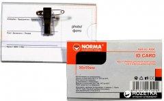 Набор бейджей горизонтальные на заколке + клип Norma 50 шт 90 x 55 мм (18591662432401)