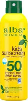 Детский смягчающий солнцезащитный спрей Alba Botanica Тропические фрукты SPF-50 171 г (724742003821)
