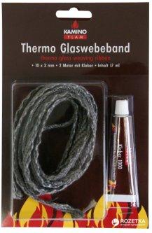 Шнур-уплотнитель стеклопластик Kamino Flam плоский 10х3 мм х 2 м + 20 г клея (333206)