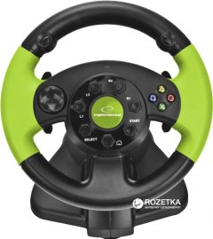 Проводной руль Esperanza USB PC/PS3/Xbox 360 Black/Green (EG104)
