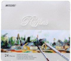 Карандаши цветные Marco Raffine акварельные с кисточкой 24 цвета в металлическом пенале (7120-24TN)
