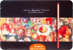 Карандаши цветные Marco Renoir 48 цветов в металлическом пенале (FineArt 3100-48TN)